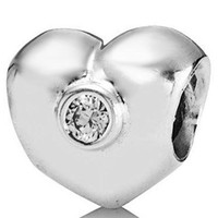 Crystal Hearts, Love Silver New! Wholesaler 925 Sterling Silver Heart Charm With Crystal Stone bead For Snake Chain European Bracelets DIY Jewelry
