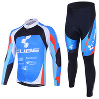 Wholesale Cube Cycling Jersey Set Winter Fleece Thermal Long Sleeve Suits Men Clothing Pants Warm Soft Bike Wear
