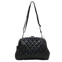 Wholesale Womens Vintage Designer Skull Rivet Pu Leather Handbag Shoulder Bag Purse Clutch black