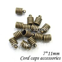Cheap Bulk 1000pcs 7*11mm hole size 6mm Antique bronze brass tone tube clasp w  loop crimp end caps for leather cord and tassel diy