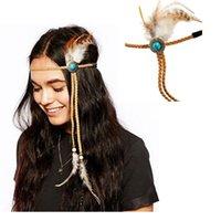 Wholesale Holesale New Fashion Boho Feather Calaite Beads Headband kallaite Hairband Headdress Hippie Handmade Fancy Dress Accessories
