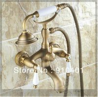 antique clawfoot tubs - And Retail Promotin NEW Antique Brass Wall Mounted Clawfoot Shower Bathroom Tub Mixer Faucet Shower emergi