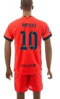 Soccer Unisex Short New Barcelona 14-15 Messi #10 Away Soccer Jerseys Tops kits Football Jersey Cheap Team Jerseys shirts with shorts