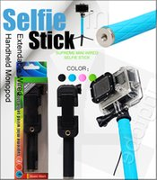 Wholesale Mini Wired Selfie Stick Supreme Foldable Extendable Monopod Smirror Self pole wired Selfie Stick for iphone s s6 Android IOS Groove Camera