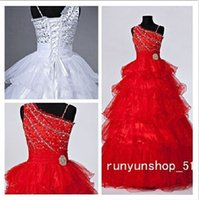 Wholesale Fashion spot flower children s wear red and white beauty dress Beaded pearl ball gown size