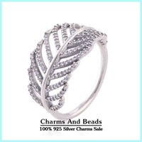 Cheap Clear Cz Micro Pave Feather Rings For Women Fits Pandora Jewelry Vintage European Authentic 925 Sterling Silver Rings Wholesaln RIP043