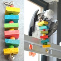 Wholesale Colorful Wood Blocks Beads Hanging Chew Toys with Bell for Cockatiels Parrot Pet Cheap Handmade Bird Supplies
