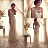 Wholesale Tops Vintage Sheer Wedding Dresses Backless Lace Beach Wedding Dresses Empire Covered Buttons A Line Wedding Dresses With Short Sleeves