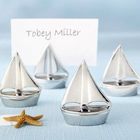 beach place cards - Beach Themed Wedding favor quot Shining Sails quot Silver Place Card Holders and Party favors and Wedding decoration gift