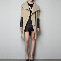 leather trench coat - Fashion PU Leather Sleeve Coat Women Long Woolen Jacket Slim Zipper Patchwork Trench Coat