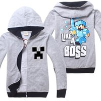Cheap 4-14Y Big Children Boys hoody Minecraft JJ coolie Cartoon long sleeve pure cotton Zipper Children's hoody Kids Clothing 2 color