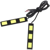 amber running lights - 5pcs A Pair V W cm COB LEDs LM Cold White Car Daytime Running Lights CEC_499