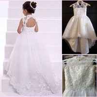 Model Pictures Girl Lace Charming 2015 A line Lace Girl Flower Dresses Backless High Neck Sweep Train Baby Formal Occasion First Communion Birthday Skirt Real Image