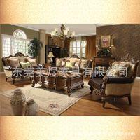 Sofá-americana tecido na combinação sofá sala de alto grau sofá de couro sofá carvalho americano esculpido