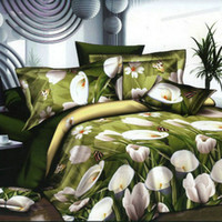 Wholesale 4pcs D Printed Bedding Set Bedclothes White Tulip on Green Background Queen King Size Duvet Cover Bed Sheet Pillowcases H15508