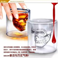 Wholesale Halloween Clear glass skull cups Vodka Shot Glass Pirate Vaccum Glasses Beer Cups best Drinking Ware new arravial