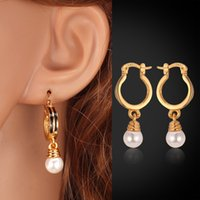Wholesale Trendy Design Pearl Earrings Women Fashion Jewelry Gift K Real Gold Plated Round White Pearl Drop Earrings