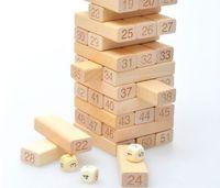 Wholesale Drop shipping Blocks Dices Wooden Tumbling Stacking Jenga Tower Children Game Freeshipping w004