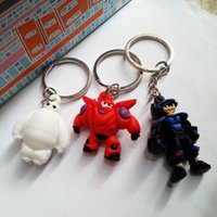 Cheap Super Big Hero 6 Baymax Robot Baymax White Fat Doll 3D Stereo Silicone Key Ring Pendant Ideal Gifts for Kids 2105001