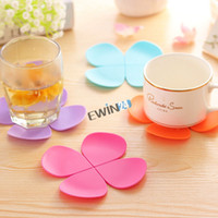 Wholesale new and high quality D Flower petal Coaster Colourful Silicone Cup Drinks Holder Mat Cute Gift