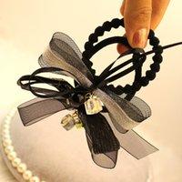 Wholesale C108 Korean tidal fashion bow hair ring box pearl diamond hair Shengpi ribs sweet temperament female hair tie