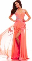 Wholesale Coral Prom Gowns Beaded Halter Sash Sleeveless Crystal Prom Dresses Evening Gowns Floor Length Side Slit Flowing Formal Gowns WJ444
