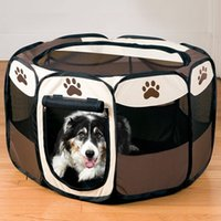 Cheap Wholesale Folding Pet Cage Dog Supplies Pet Products Coffee Pet Fence Dog Kennel Puppy Soft Playpen Exercise Play HT0008