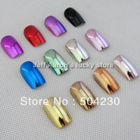Cheap Wholesale-144PCS 12 Metallic Color Metal Plating False French Acrylic Nail Tips With Nail Glue 12 sizes