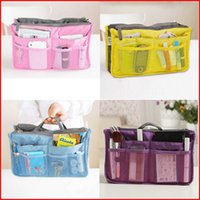 Wholesale 10 Colors Organizer Bag In Bag Dual Travel Insert Multi Function Handbag Makeup Pocket Organizer Purse Storage Bags Pieces
