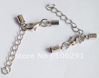 Wholesale Free ship silver tone necklace extend chain back chain jewelry finding end cap with clasp fit mm cord