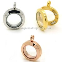 Lockets Trendy Women's mini floating locket pendant 20mm stainless steel magnetic glass plain
