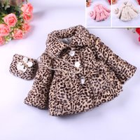 Wholesale Girl leopard wool coat with a bag faux fur wool coat girl winter coat girl winter clothing colors drop shipping OD1014