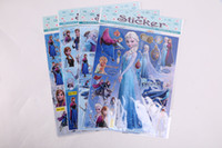 Wholesale 4 style Frozen sticker sheet Anna Elsa Decal Removable PVC Wall Sticker Home Decor Art Kids Nursery Loving Gift DIY Adhesive paper game