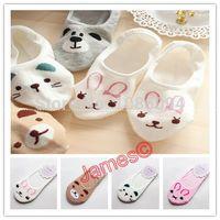 bear slippers sale - Russia Top sale women socks cartoon rabbit teddy bear cat cotton stealth ship socks Sock Slippers pairs
