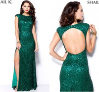 Wholesale 2016 Hunter Green Bling Crew Neck Sequins Backless Prom Dresses Long Side Split A Line Evening Gowns Shail K Party Dresses BA0273