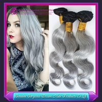 Cheap grey ombre human hair weft Best ombre human hair waving