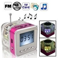 clock radio mp3 - Transparent Mini Portable Wireless Speaker with FM Radio SD TF Card Slot LCD Digital Display MP3 Music Player LED Alarm Clock Amplifier
