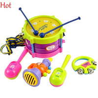Wholesale 5Pcs set Musical Instruments Playing Set Colorful Educational Toys Drum Handbell Trumpet Sand Hammer Drum Stick Amusement Band Kit Toys