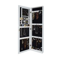 armoire wood - Wall Mounted Hang on the Door Mirrored Jewelry Armoire Cabinet Cosmetic Organizer Storage Cabinet with Lock