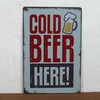 metal decor - Cold beer here paiting Tin Sign Bar pub home Wall Decor Retro Metal Art Poster