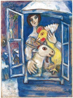 art painting chagall - art for sale online Bella with Rooster in the Window by Marc Chagall oil painting Canvas High quality Modern Art Reproduction Hand painted