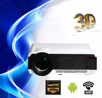 Wholesale Free gift curtain Full HD New Android Smart Projector D LCD Wifi Home Theater TV Beamer LED Projektor Proyector p USB AV