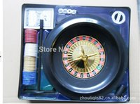 Wholesale in Roulette set Roulette Wheel Game Set Poker Chips rake Felt Layout Dice Steel ball amp poker