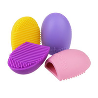 Wholesale Sample Order Brush Egg Makeup Brush Cleaner Colors Silicone Brushegg Glove Scrubber Cosmetic Brush Cleaning Tools S30177