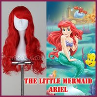ariel wig - Hot New The Little Mermaid Ariel Synthetic Long Wavy Red Anime Cosplay Wigs free wig cap