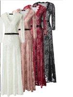 best abayas - NEW WOMEN V NECK NETTED LACE ABAYA HIJAB MAXI DRESS DRESS LUXURIOUS hot best selling