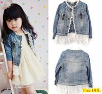 Wholesale Free DHL Girls Kids Lace Denim Jacket Denim Top Button Costume Outfits Jean Coat T