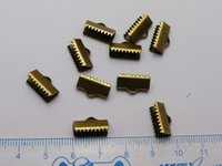crimp cord end - 100 Textured Bronze Tone Ribbon Necklace Cord End Caps Crimp Beads Tips X8mm