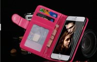 Wholesale Flip Photo Frame Wallet PU Leather Cover Cases With Card Slots For iphone Plus iphone s s leather case