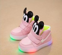 baby flats - 3 styles baby mickey LED luminous shoes unisex children sneakers light shoes colorful glowing leisure flat shoes C451